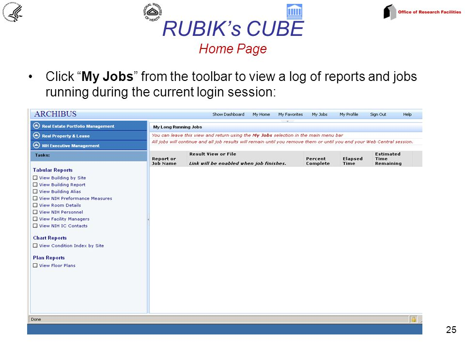 RUBIK's CUBE Home Page 25 Click My Jobs from the toolbar to view a log of reports and jobs running during the current login session: