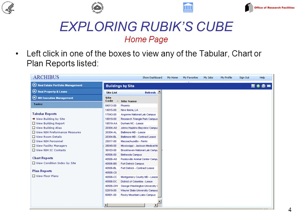 4 EXPLORING RUBIK'S CUBE Home Page Left click in one of the boxes to view any of the Tabular, Chart or Plan Reports listed: