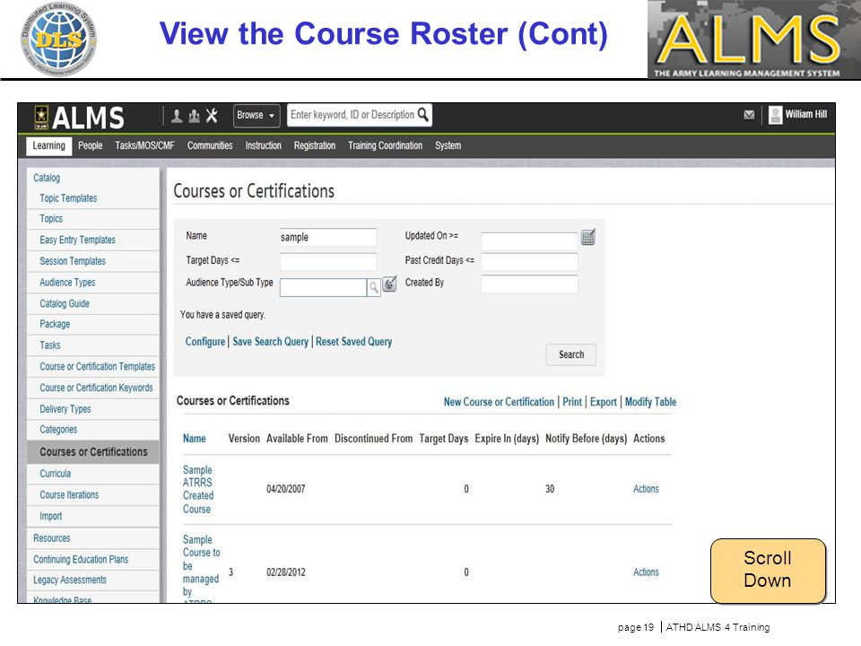 page 19  ATHD ALMS 4 Training View the Course Roster (Cont) Scroll Down