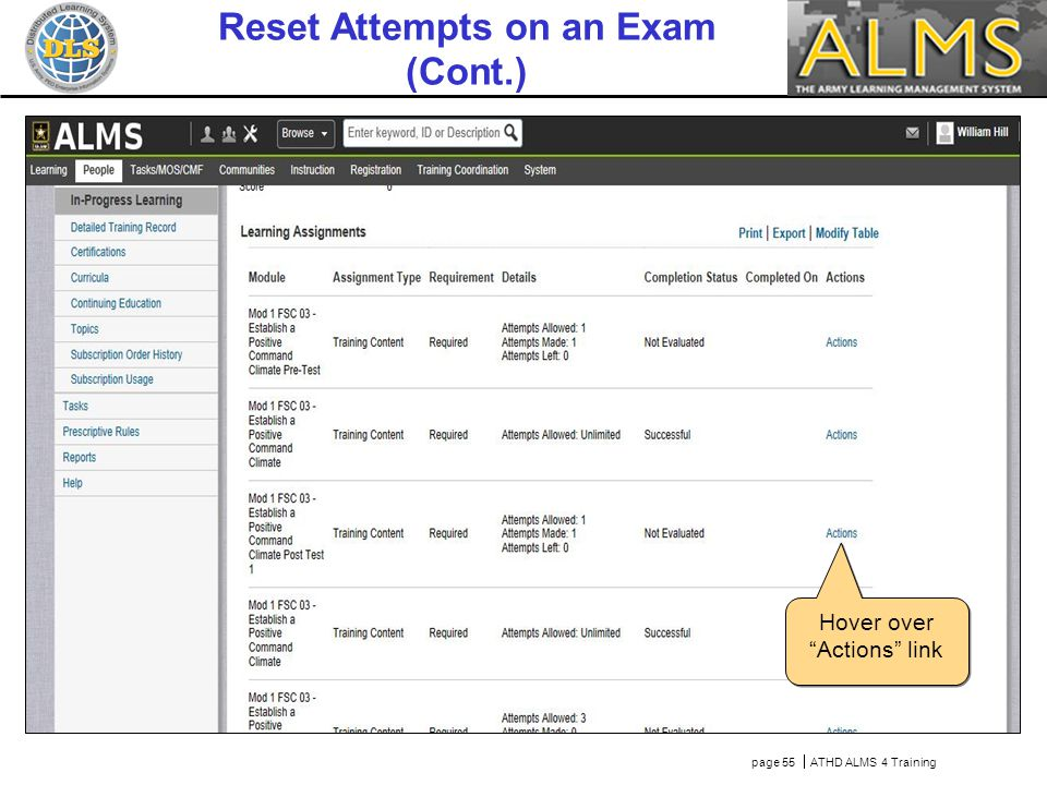 page 55  ATHD ALMS 4 Training Hover over Actions link Reset Attempts on an Exam (Cont.)