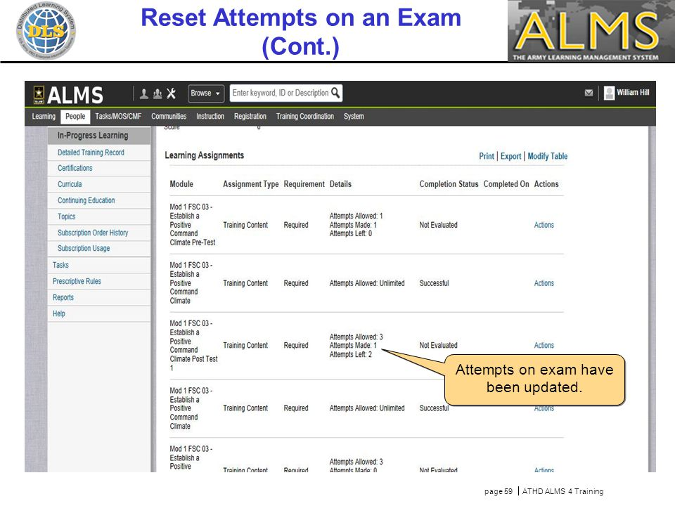 page 59  ATHD ALMS 4 Training Reset Attempts on an Exam (Cont.) Attempts on exam have been updated.