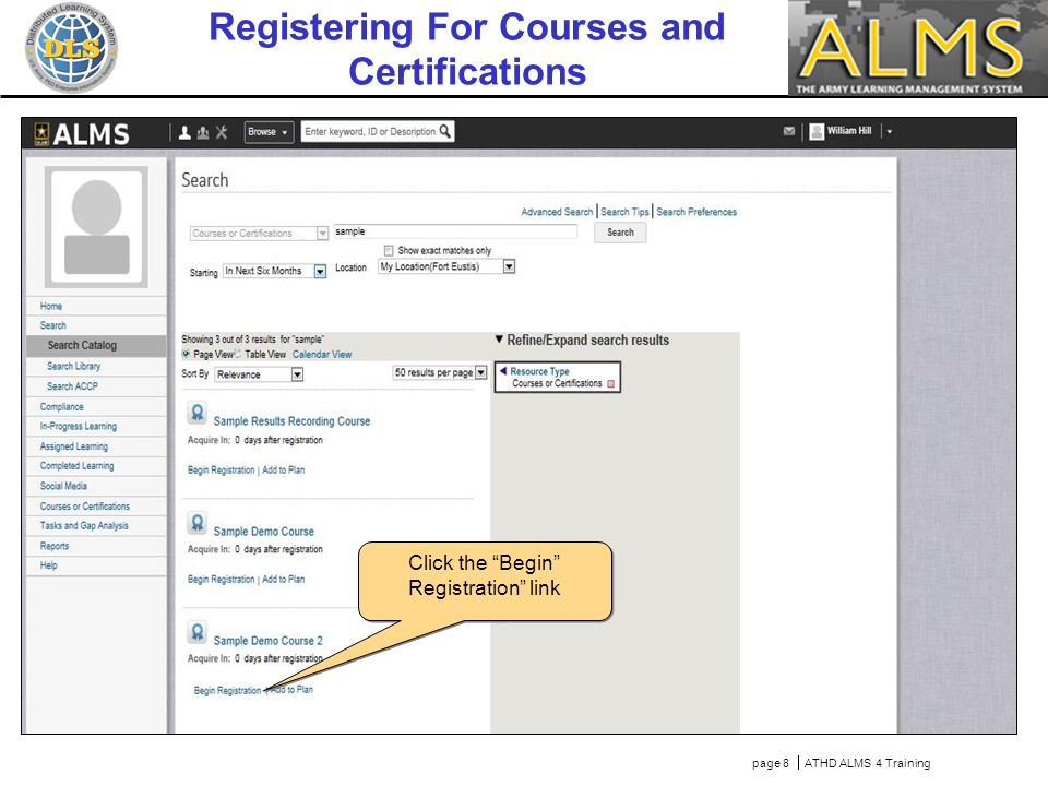 Courses and Certifications are displayed in the results..