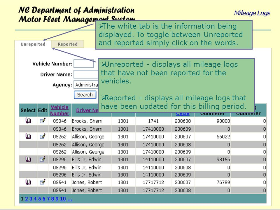 If more than one vehicle is assigned to an agency then you can view information by vehicle number or driver name.