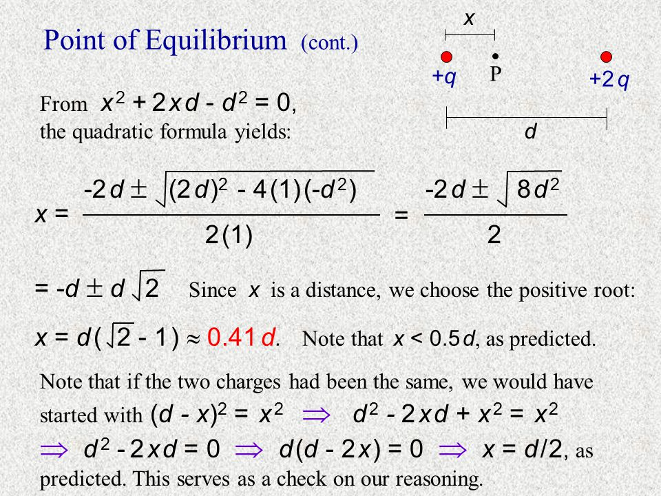 Point of Equilibrium (cont.) +2 q d x +q P Since P is the equilibrium point, no matter what charge is placed at P, there should be zero electric on it
