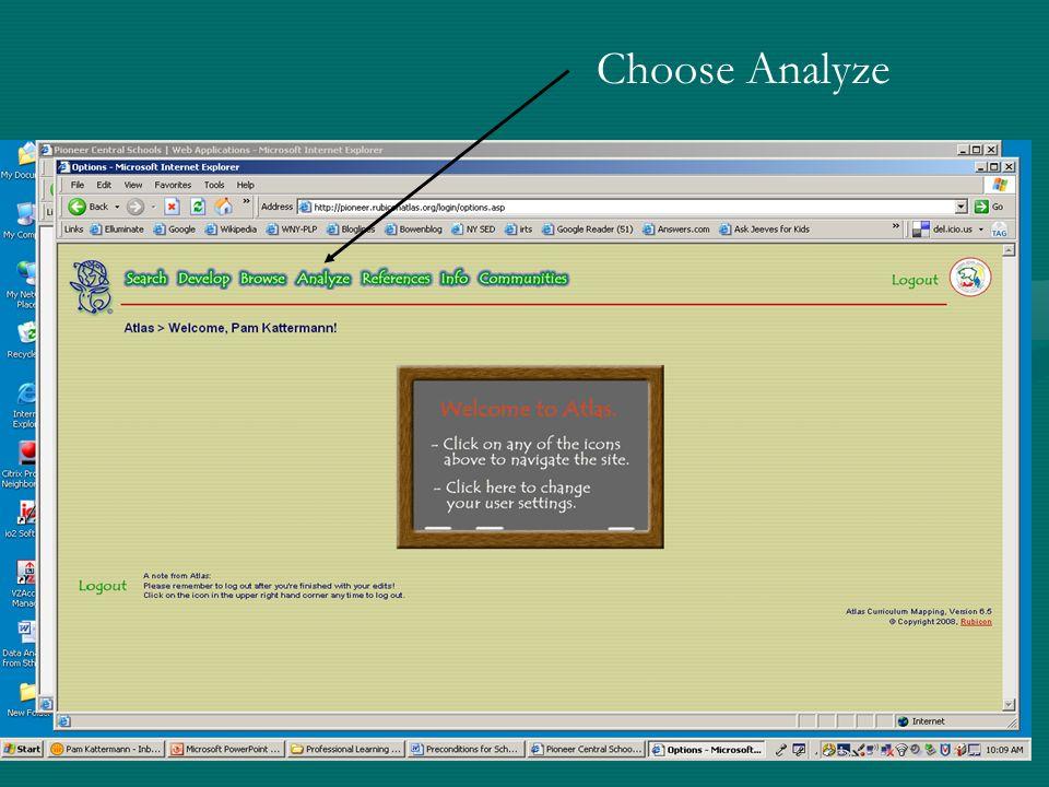Choose Analyze