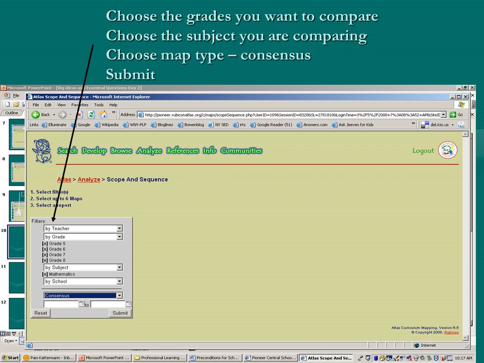 Choose the grades you want to compare Choose the subject you are comparing Choose map type – consensus Submit