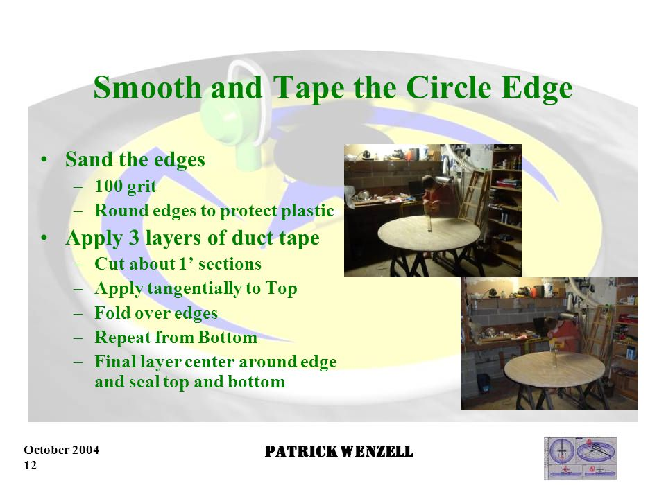 October 2004 11 Patrick Wenzell Cut a 4' Diameter Circle Start at the edge Slowly and evenly cut the circle using the guide Repeat to make even