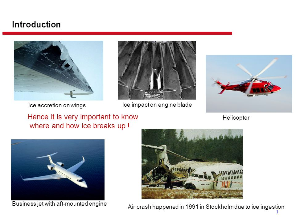 1 Introduction Ice accretion on wings Business jet with aft-mounted engine Ice impact on engine blade Helicopter Hence it is very important to know wh