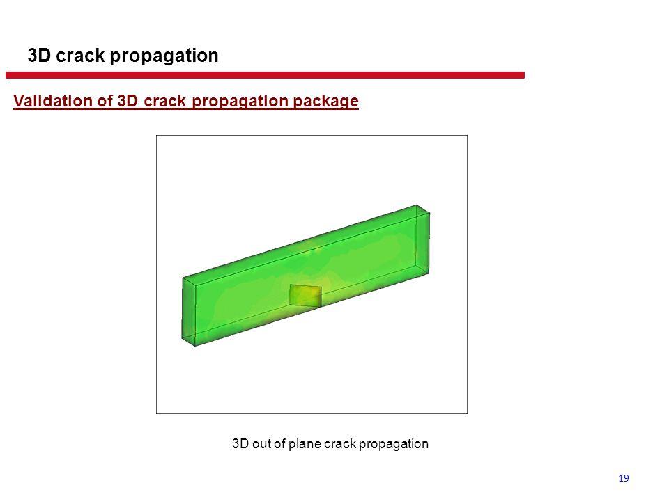 19 3D crack propagation Validation of 3D crack propagation package 3D out of plane crack propagation