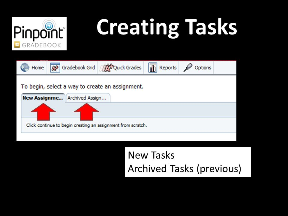Creating Tasks New Tasks Archived Tasks (previous)