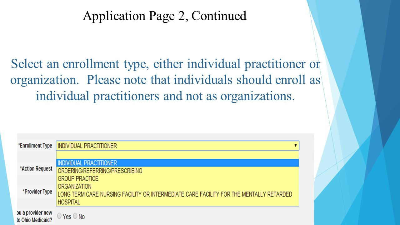 Select an enrollment type, either individual practitioner or organization.