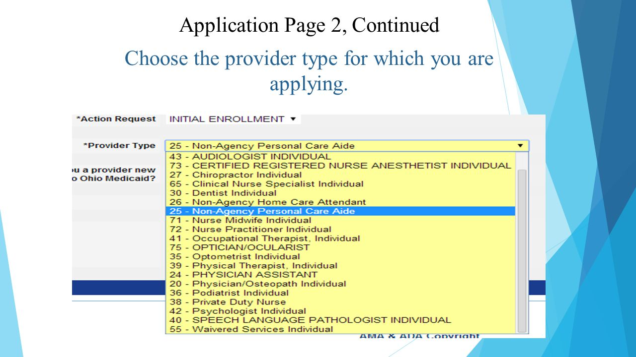 Choose the provider type for which you are applying. Application Page 2, Continued