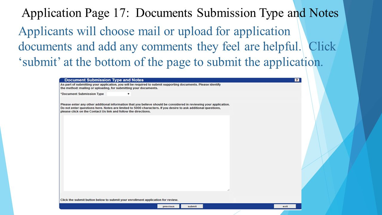 Applicants will choose mail or upload for application documents and add any comments they feel are helpful.