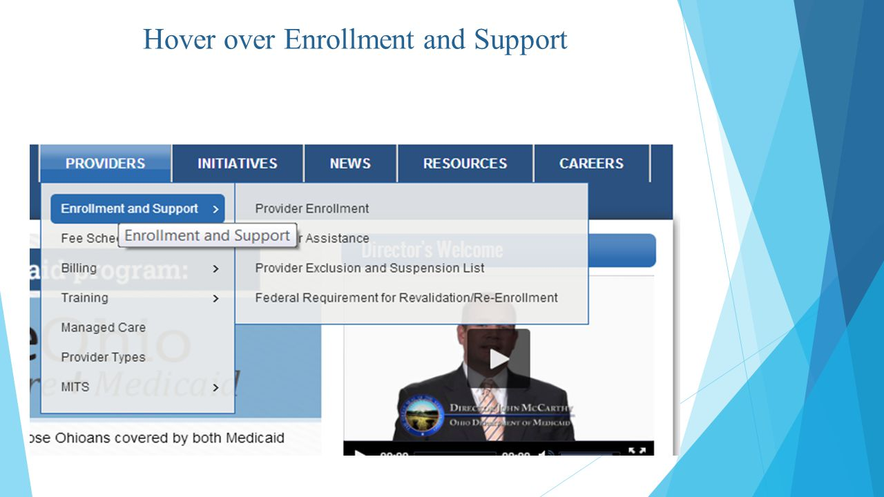 Hover over Enrollment and Support