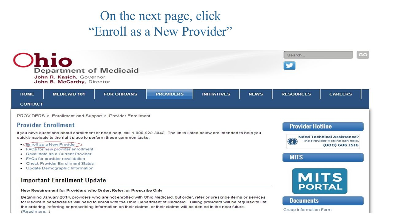 On the next page, click Enroll as a New Provider