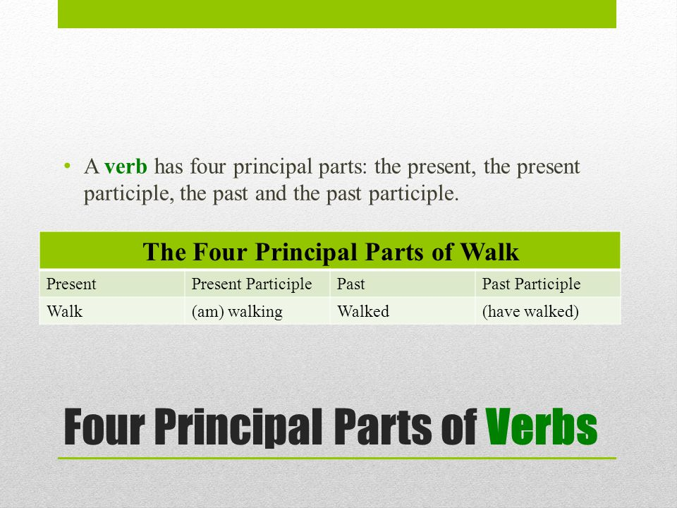 Four Principal Parts of Verbs A verb has four principal parts: the present, the present participle, the past and the past participle.