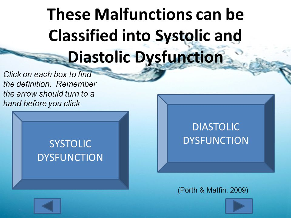 These Malfunctions can be Classified into Systolic and Diastolic Dysfunction Impaired contractility leads to a decrease in Ejection Fraction and Cardiac Output.