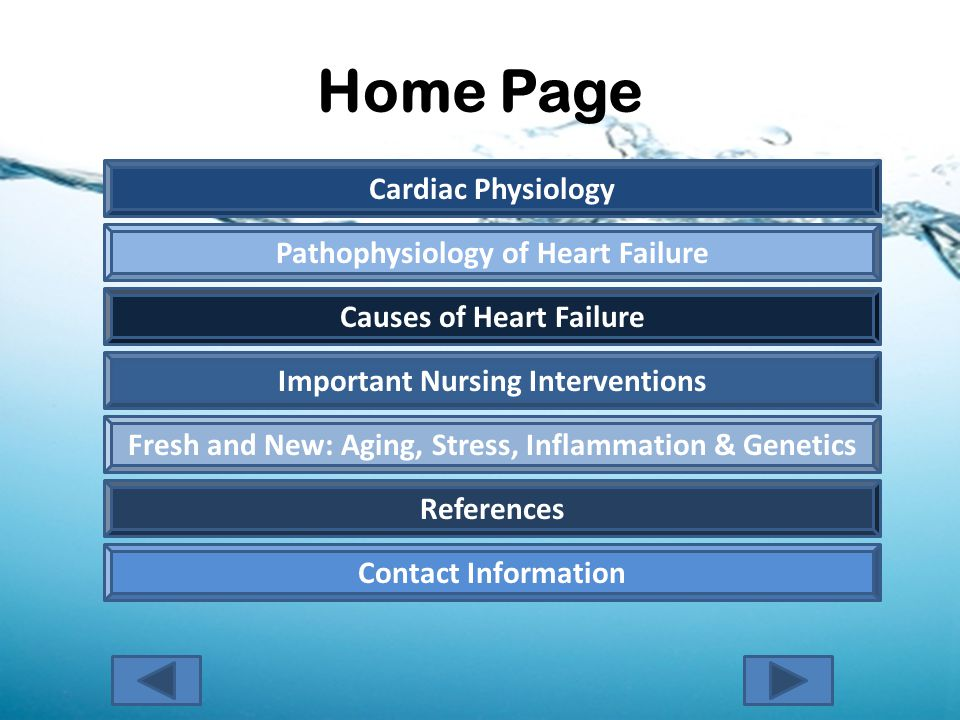Home Page Pathophysiology of Heart Failure Causes of Heart Failure Important Nursing Interventions Cardiac Physiology Fresh and New: Aging, Stress, Inflammation & Genetics References Contact Information