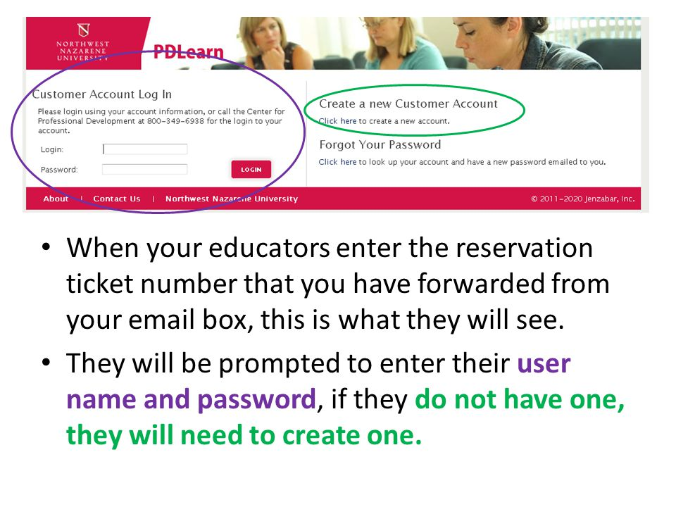 mc When your educators enter the reservation ticket number that you have forwarded from your email box, this is what they will see. They will be promp