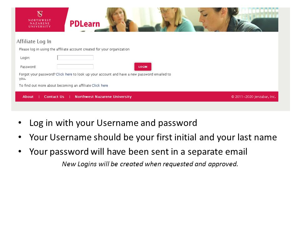 Log in with your Username and password Your Username should be your first initial and your last name Your password will have been sent in a separate e