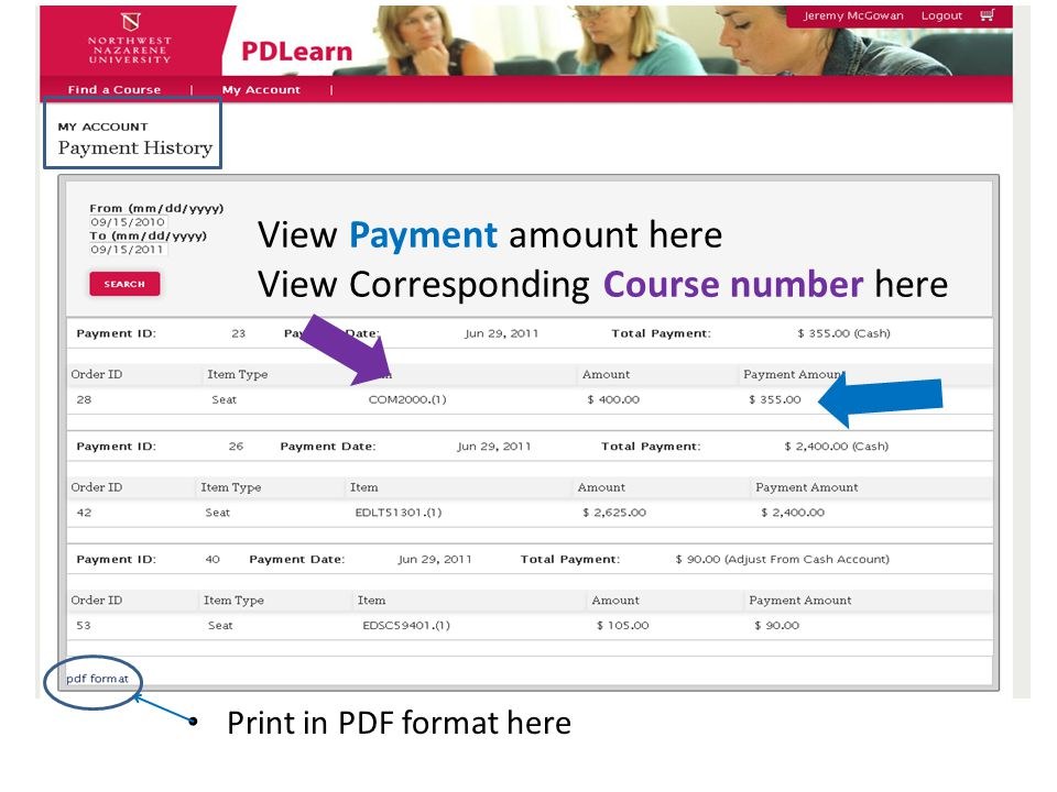 View Payment amount here View Corresponding Course number here Print in PDF format here
