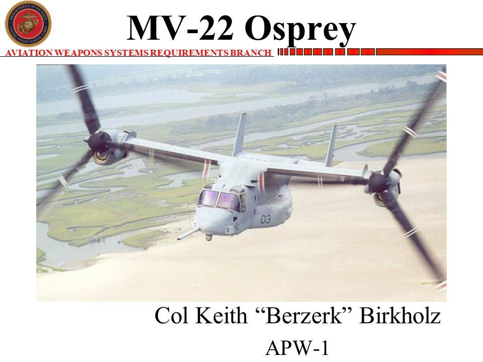 AVIATION WEAPONS SYSTEMS REQUIREMENTS BRANCH MV-22 Osprey Col Keith Berzerk Birkholz APW-1