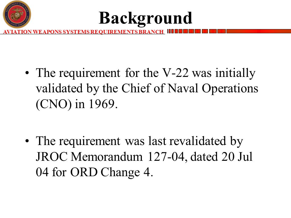 AVIATION WEAPONS SYSTEMS REQUIREMENTS BRANCH Background The requirement for the V-22 was initially validated by the Chief of Naval Operations (CNO) in 1969.