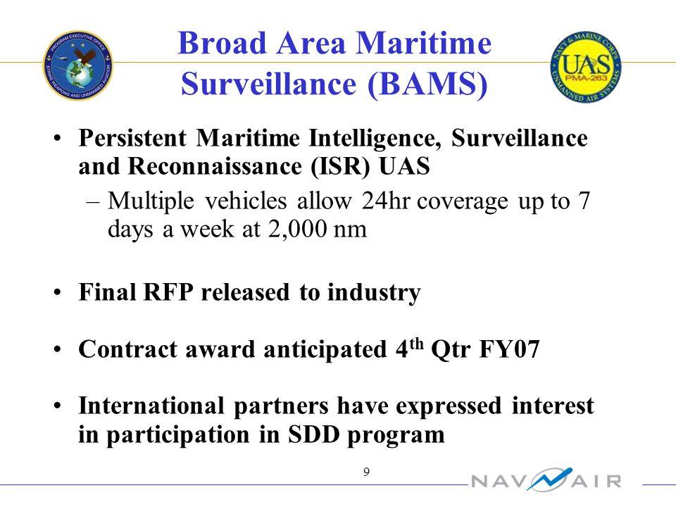 9 Broad Area Maritime Surveillance (BAMS) Persistent Maritime Intelligence, Surveillance and Reconnaissance (ISR) UAS –Multiple vehicles allow 24hr co