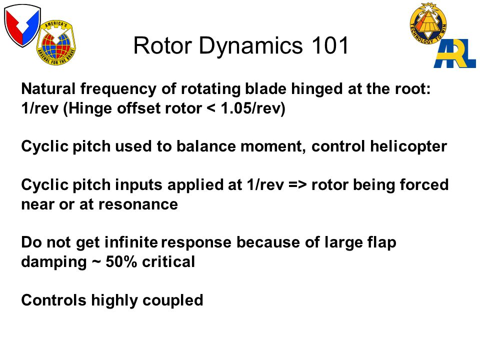 Rotor Dynamics 101 Natural frequency of rotating blade hinged at the root: 1/rev (Hinge offset rotor < 1.05/rev) Cyclic pitch used to balance moment, control helicopter Cyclic pitch inputs applied at 1/rev => rotor being forced near or at resonance Do not get infinite response because of large flap damping ~ 50% critical Controls highly coupled