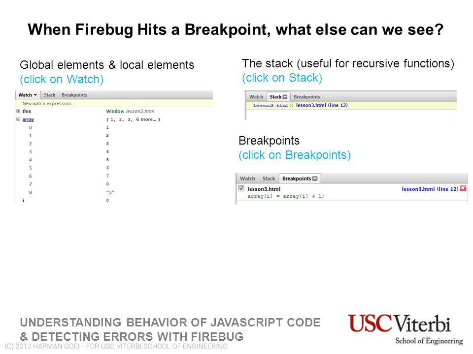 When Firebug Hits a Breakpoint, what else can we see.