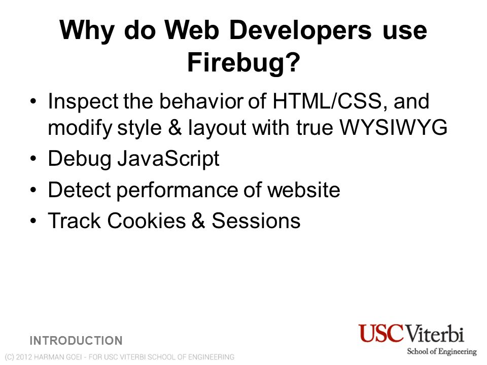 Why do Web Developers use Firebug.