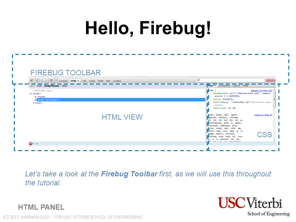 Firebug Toolbar FIREBUG TOOLBAR PANELS Console: Brings up a Interactive JavaScript Console HTML: Brings up the HTML View (see previous) CSS: Brings up the CSS View Script: Brings up the JavaScript Debugger (used later) DOM: A list of all the DOM Properties (defaults to window object) Net: Displays requests made from the browser Cookies: Displays sessions & cookies from the browser
