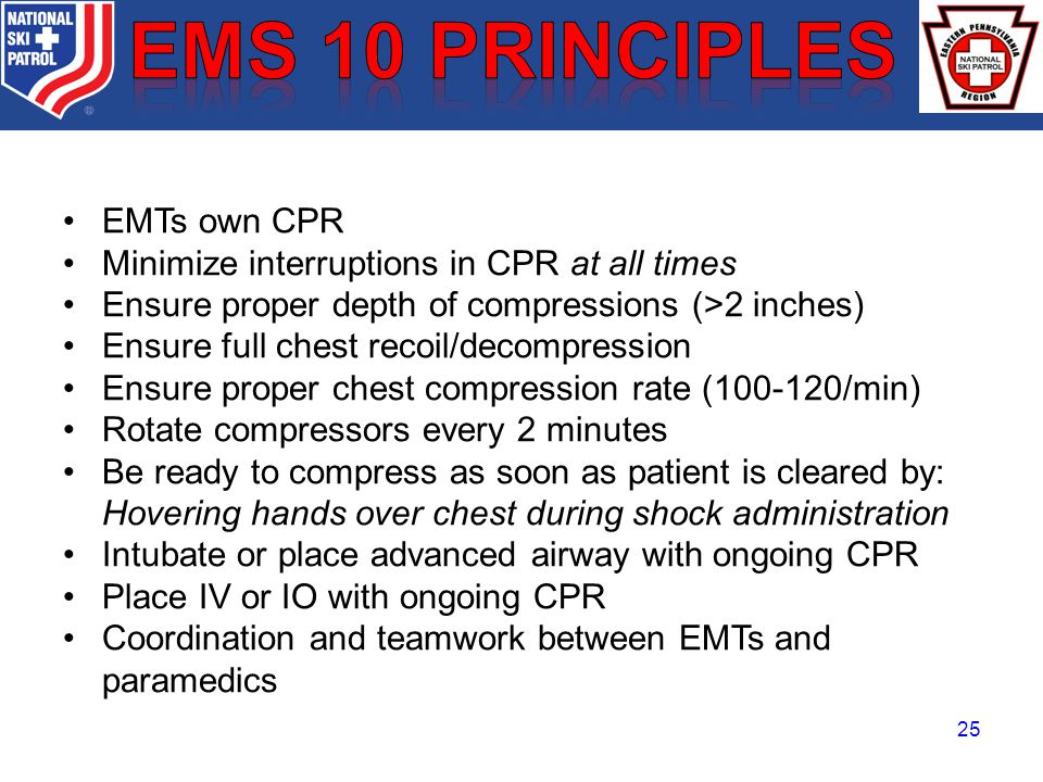 BRADY EMTs own CPR Minimize interruptions in CPR at all times Ensure proper depth of compressions (>2 inches) Ensure full chest recoil/decompression Ensure proper chest compression rate (100-120/min) Rotate compressors every 2 minutes Be ready to compress as soon as patient is cleared by: Hovering hands over chest during shock administration Intubate or place advanced airway with ongoing CPR Place IV or IO with ongoing CPR Coordination and teamwork between EMTs and paramedics 25