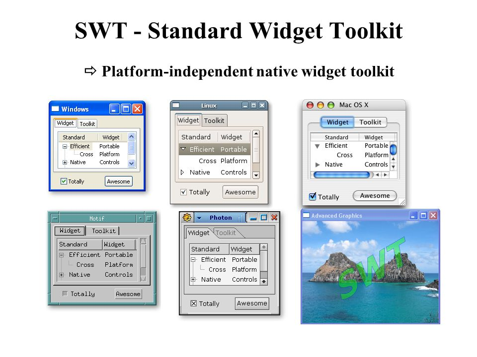 SWT - Standard Widget Toolkit  Platform-independent native widget toolkit