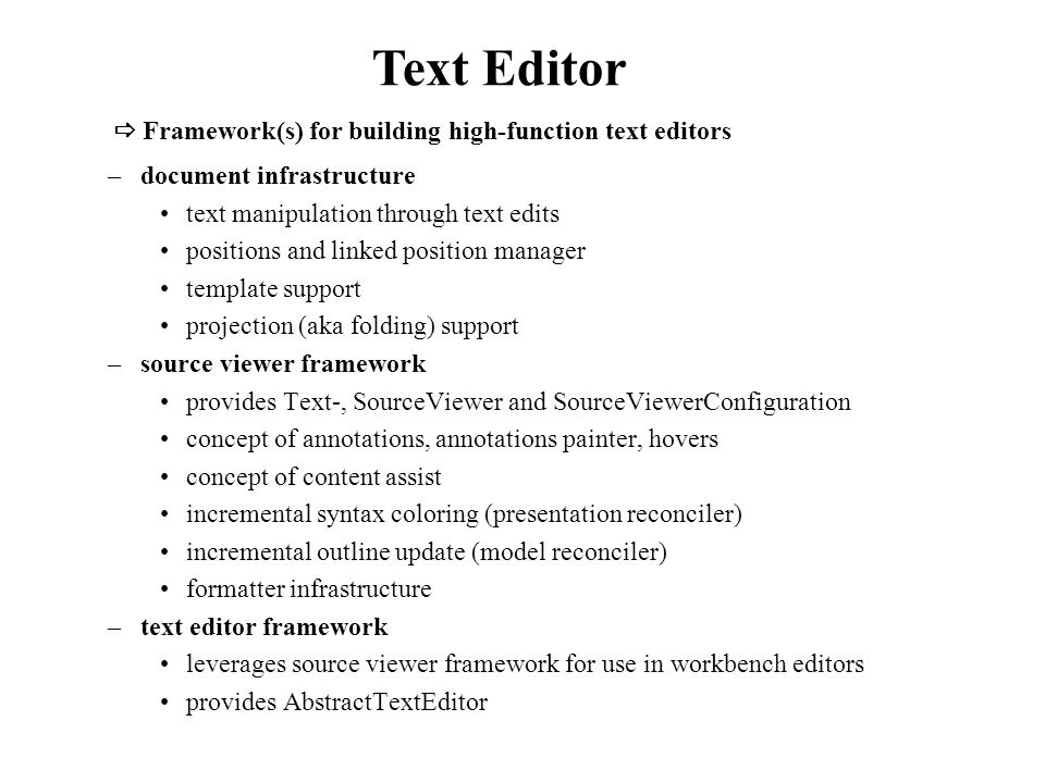 –document infrastructure text manipulation through text edits positions and linked position manager template support projection (aka folding) support