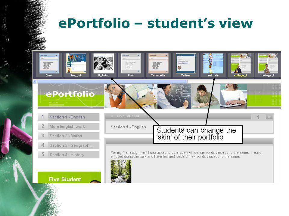 ePortfolio – student's view Students can change the 'skin' of their portfolio