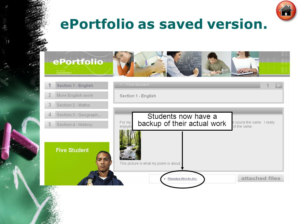 ePortfolio as saved version. Students now have a backup of their actual work