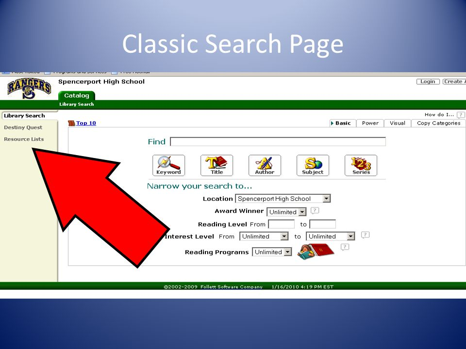 Classic Search Page
