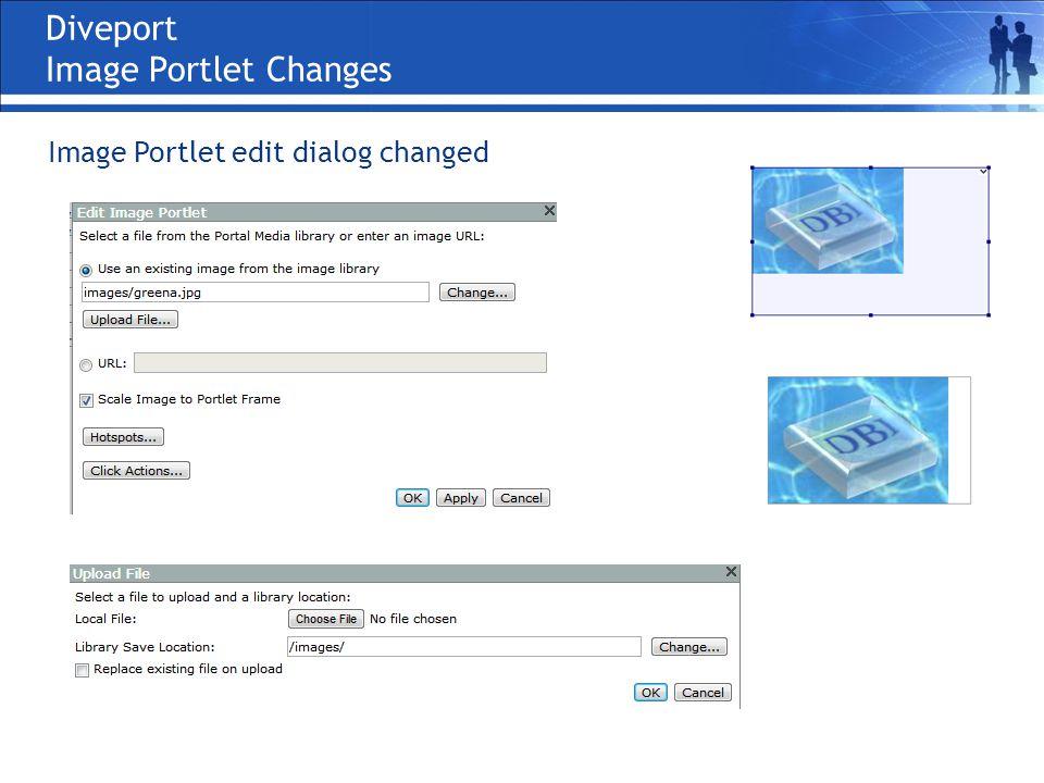 Diveport Image Portlet Changes Image Portlet edit dialog changed
