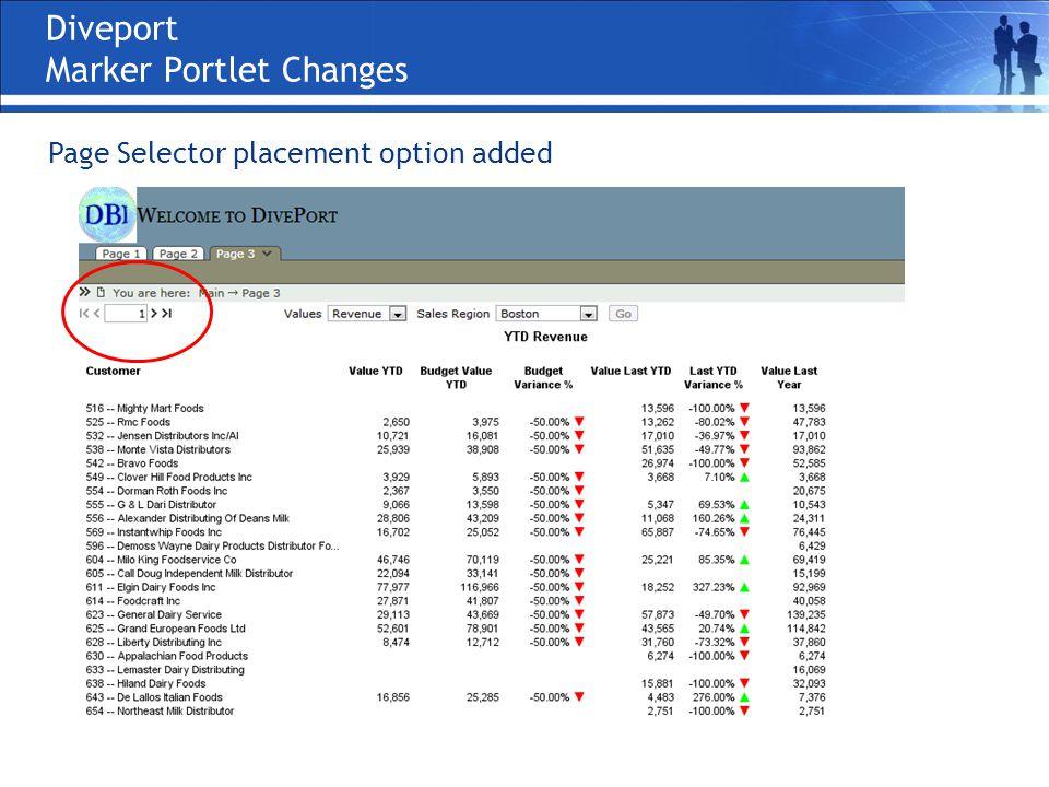 Diveport Marker Portlet Changes Page Selector placement option added