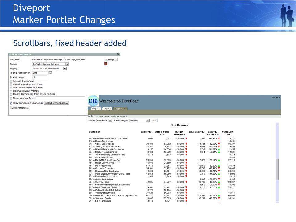 Diveport Marker Portlet Changes Scrollbars, fixed header added