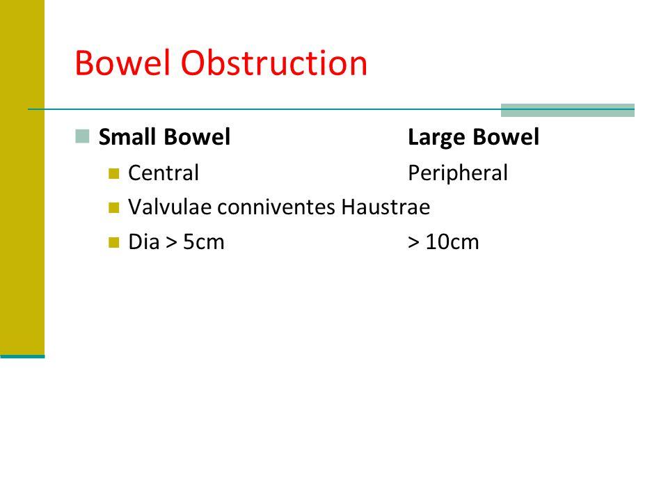 Bowel Obstruction Small BowelLarge Bowel CentralPeripheral Valvulae conniventesHaustrae Dia > 5cm> 10cm
