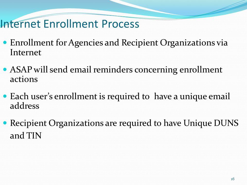 Internet Enrollment Process Enrollment for Agencies and Recipient Organizations via Internet ASAP will send email reminders concerning enrollment acti