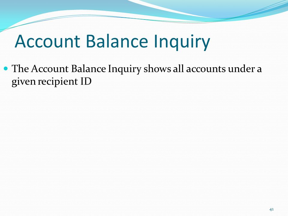 Account Balance Inquiry The Account Balance Inquiry shows all accounts under a given recipient ID 41