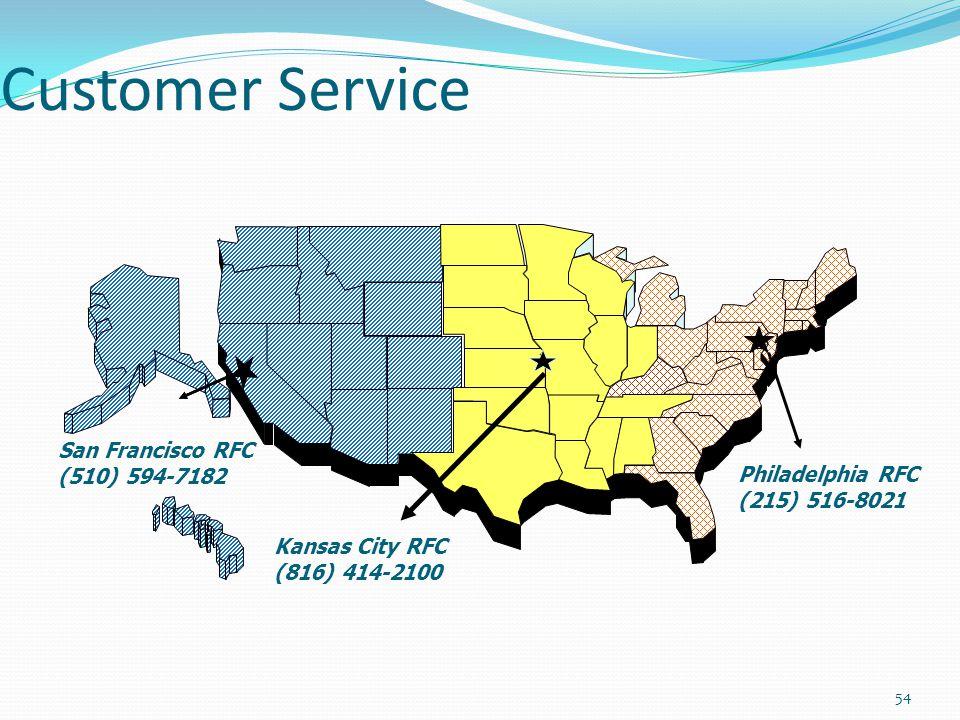 Customer Service Philadelphia RFC (215) 516-8021 Kansas City RFC (816) 414-2100 San Francisco RFC (510) 594-7182 54