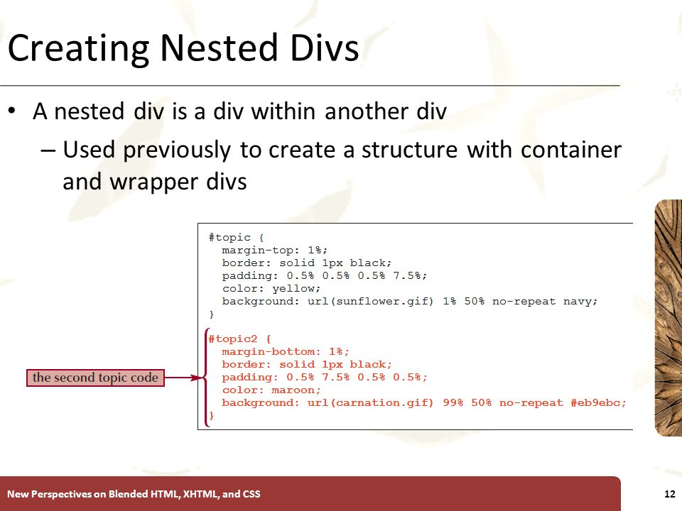 XP Creating Nested Divs A nested div is a div within another div – Used previously to create a structure with container and wrapper divs New Perspectives on Blended HTML, XHTML, and CSS12