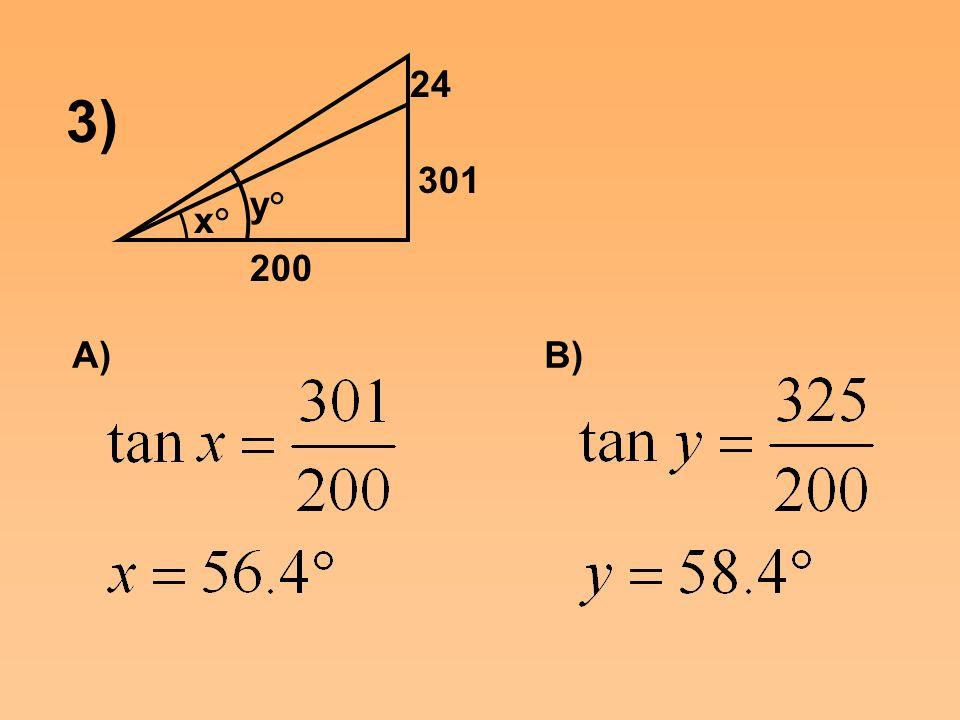 x° y° 301 24 200 3) A)B)