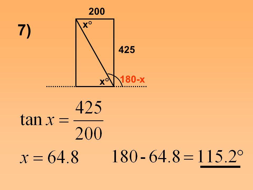 7) 200 425 180-x x°