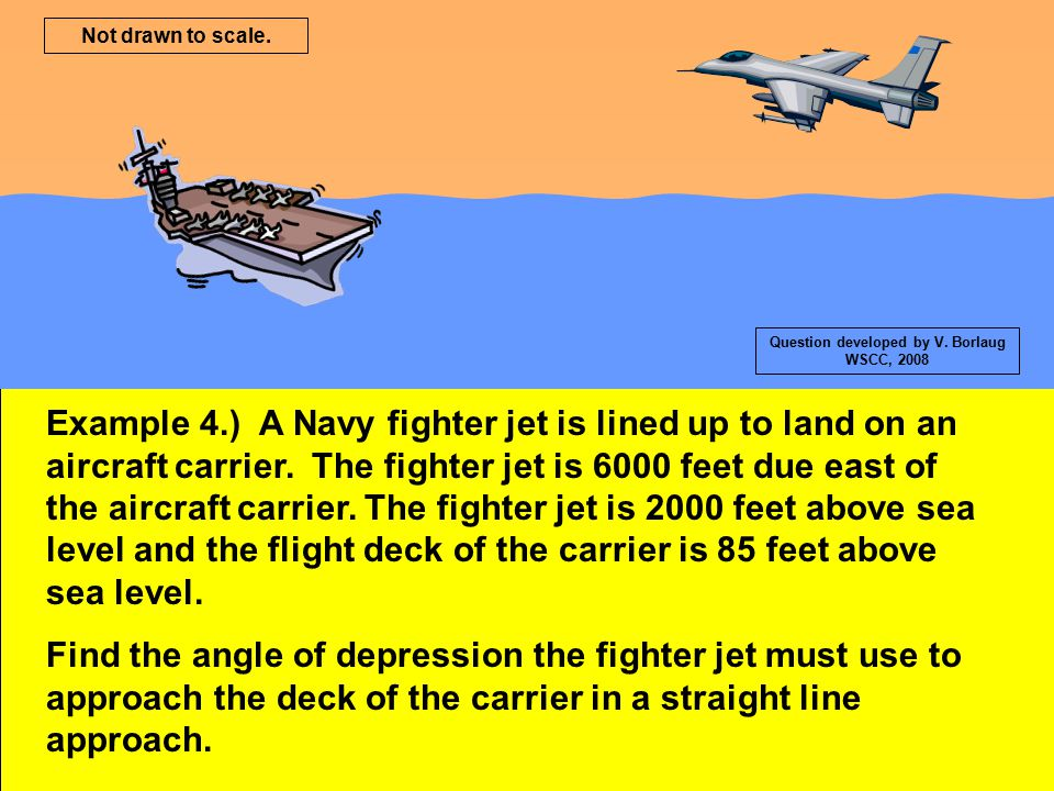 Example 4.) A Navy fighter jet is lined up to land on an aircraft carrier. The fighter jet is 6000 feet due east of the aircraft carrier. The fighter