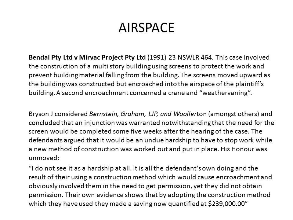 AIRSPACE Bendal Pty Ltd v Mirvac Project Pty Ltd (1991) 23 NSWLR 464.